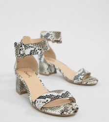 Qupid Mid Block Heel Sandals - Black