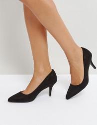 Qupid Mid Heel Point High Heels - Black