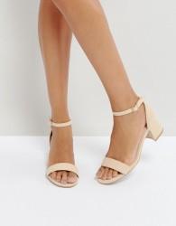 Qupid Mid Heel Sandals - Beige