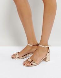 Qupid Mid Heel Sandals - Copper