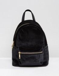 Qupid Mini Velvet Backpack - Black