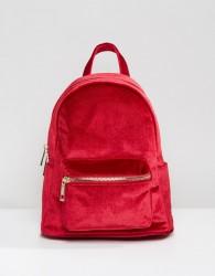 Qupid Mini Velvet Backpack - Red