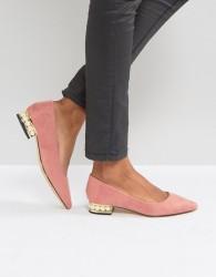 Qupid Pearl Heel Shoe - Beige