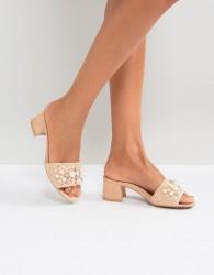 Qupid Pearl Trim Mule Sandal - Pink