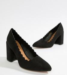QUPID Pointed Block Heels - Black