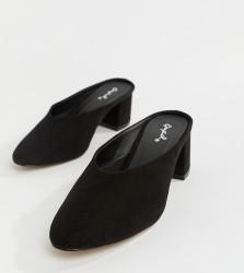 QUPID Pointed Heeled Mules - Black