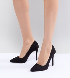QUPID Pointed High Heeled Shoes - Black