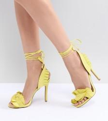 QUPID Ruffle Heeled Sandals - Yellow