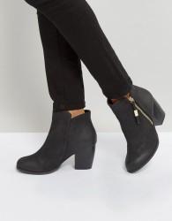 Qupid Side Zip Heel Boots - Black