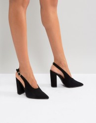 Qupid Slingback Block Heel Shoe - Black