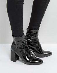Qupid Sock Block Heel Boot - Black