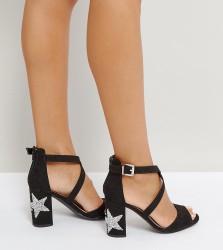 Qupid Star Heel Sandal - Black