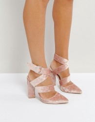Qupid Strappy Point Crushed Velvet High Heels - Pink