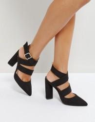 Qupid Strappy Point High Heels - Black