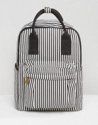Qupid Stripe Backpack With Front Pocket - Black
