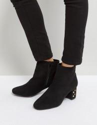 Qupid Stud Heel Boots - Black