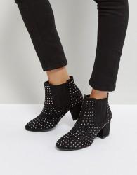 Qupid Stud Mid Heel Boot - Black