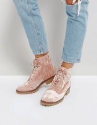 Qupid Velvet Flat Hiker Boot - Beige