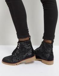 Qupid Velvet Flat Hiker Boot - Black
