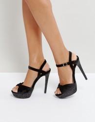 Qupid Velvet Heel Platform Sandal With Velvet Vamp - Black