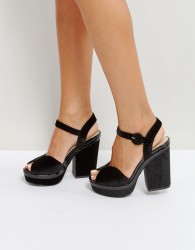 Qupid Velvet Platform Sandal - Black