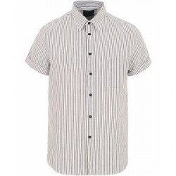 Rag & Bone Striped Short Sleeve Beach Shirt Navy/White