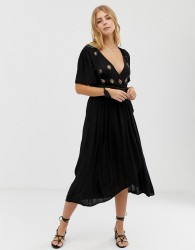 Raga A Touch Of Gold embroidered maxi wrap dress - Black