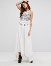 Raga Adeline Halterneck Embroidered Maxi Dress - Cream