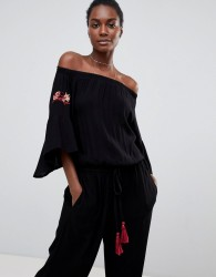 Raga Avalon Off Shoulder Jumpsuit - Black