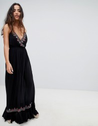 Raga Bandita Embroidered Maxi Dress - Black