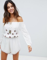 Raga Chasing The Sun Off Shoulder Playsuit - White