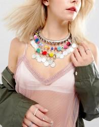 Raga Choker with Pom Poms - Multi