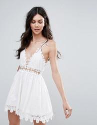 Raga Cut To It Crochet Trim Dress - White