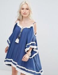 Raga Desert Sand Cold Shoulder Tunic Dress - Navy