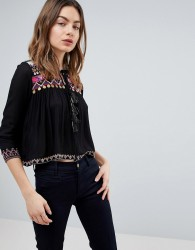 Raga Dora Tie Neck Embroidered Blouse - Black