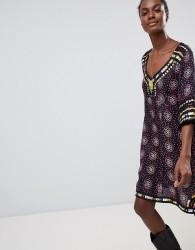 Raga Elena Printed Shift Dress - Black
