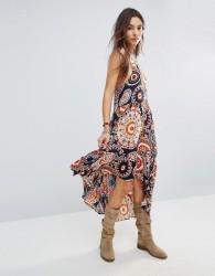 Raga High Low Printed Hendrix Dress - Orange