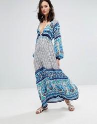 Raga Love Spell Printed Plunge Maxi Dress - Blue