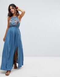 Raga Lucita Embroidered Maxi Dress - Blue