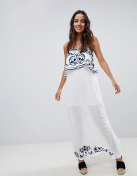 Raga Mediterranean Embroidered Maxi Dress - Blue