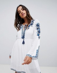 Raga Mediterranean Embroidered Tunic Dress - Blue