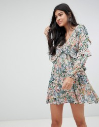 Raga Monique Ditsy Floral Print Mini Dress - Blue