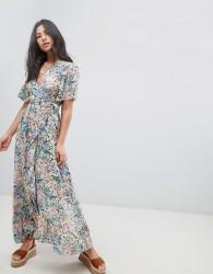 Raga Monique Ditsy Floral Print Wrap Maxi Dress - Blue