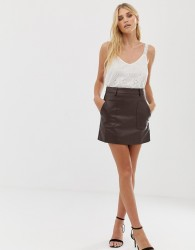 Raga Nyla faux leather mini skirt - Brown