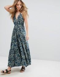 Raga Paisley Park Printed Halter Maxi Dress - Navy