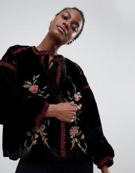 Raga Rosie Posie Velour Embroidered Jacket - Black