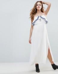 Raga Santorini Chest Frill Maxi Dress - White