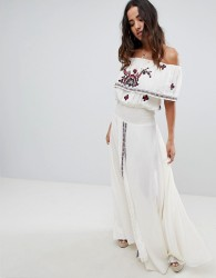Raga Tessi Off Shoulder Printed Maxi Dress - White