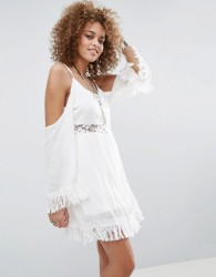 Raga The Hayley Lace Insert Cold Shoulder Dress - White