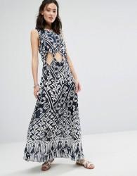 Raga Tropic Blues Cut Out Dress - Navy